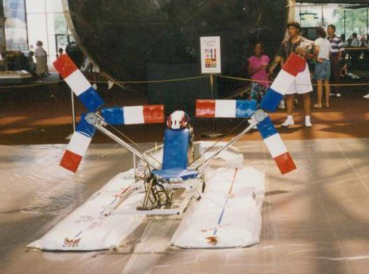Human Powered Hovercraft on display at the Smithsonian National Air and Space Museum in front of the Gemini IV capsule