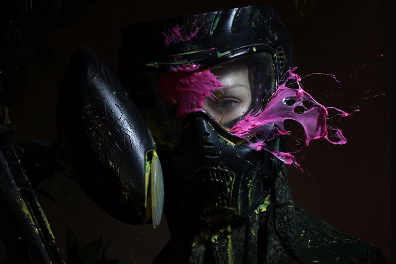 Paint ball splats on mask