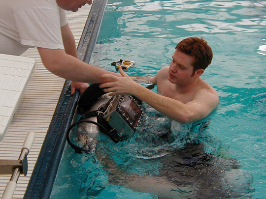 Automatic Buoyancy Compensation Device Being tested at Georgia Tech McAuley Aquatic Center
