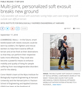 Soft exo suit created by Harvard Wyss Engineering