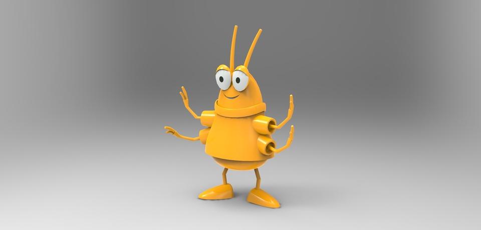 Goldbug from busytown 3d model render