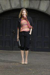 Boston Fashionista black pants colorful top